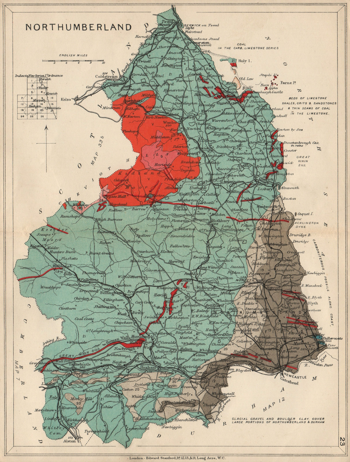 Associate Product NORTHUMBERLAND Geological map. STANFORD 1913 old antique plan chart