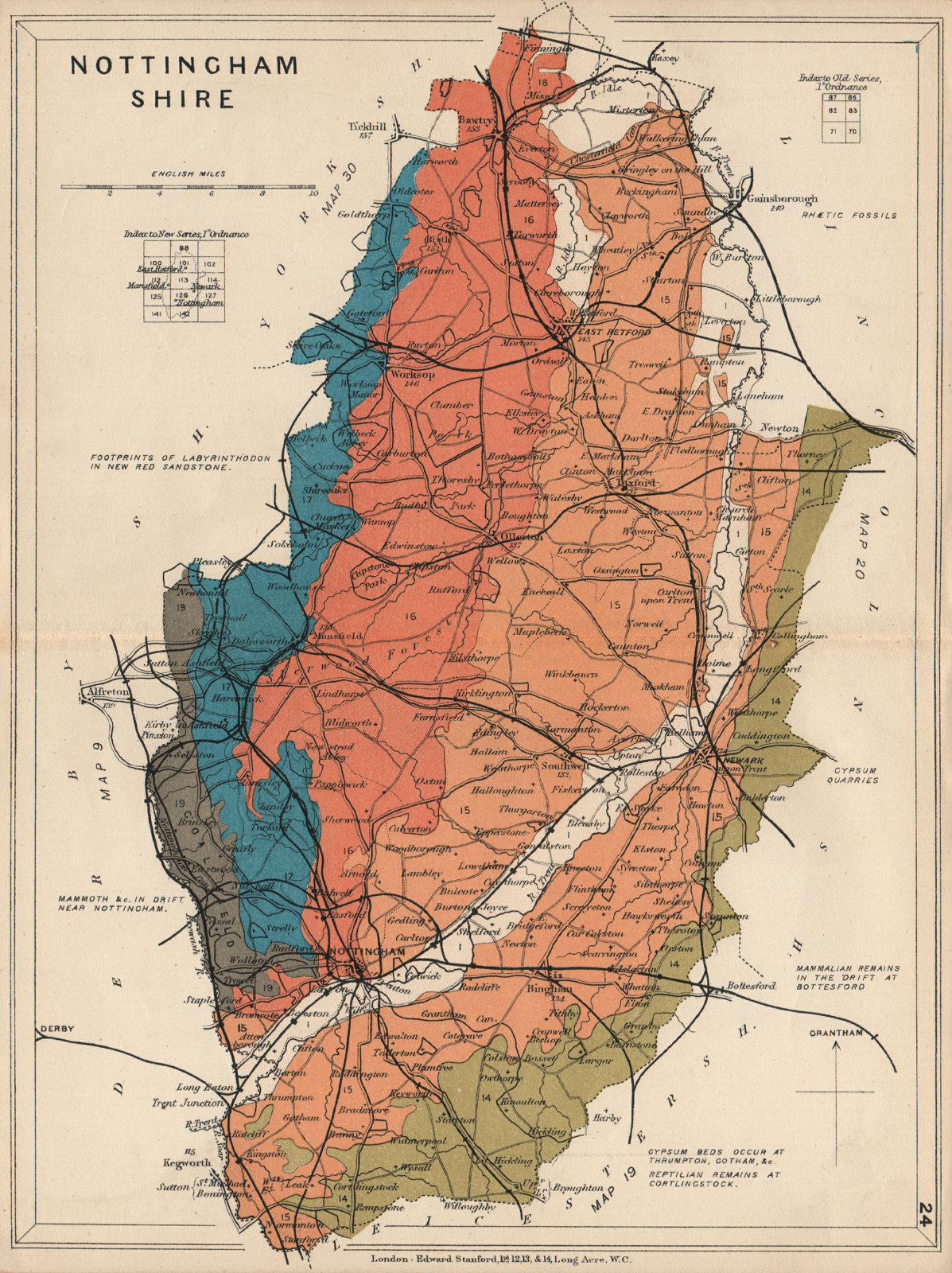 Associate Product NOTTINGHAMSHIRE Geological map. STANFORD 1913 old antique plan chart