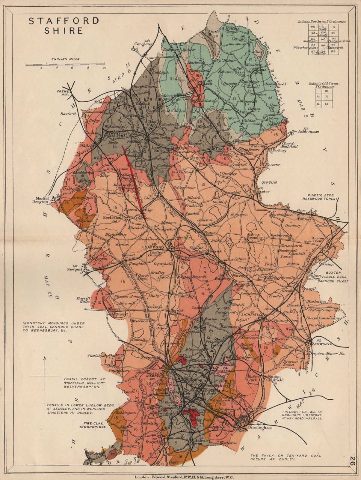 Associate Product STAFFORDSHIRE Geological map. STANFORD 1913 old antique vintage plan chart