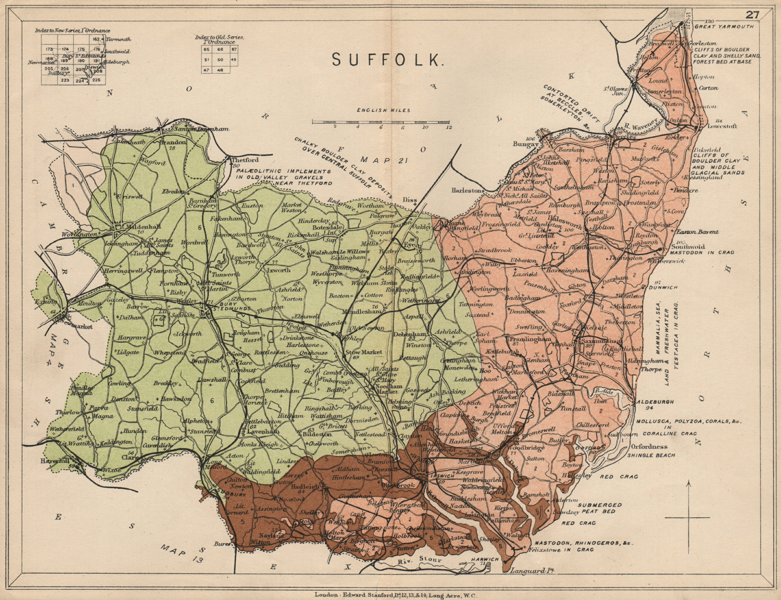 Associate Product SUFFOLK Geological map. STANFORD 1913 old antique vintage plan chart