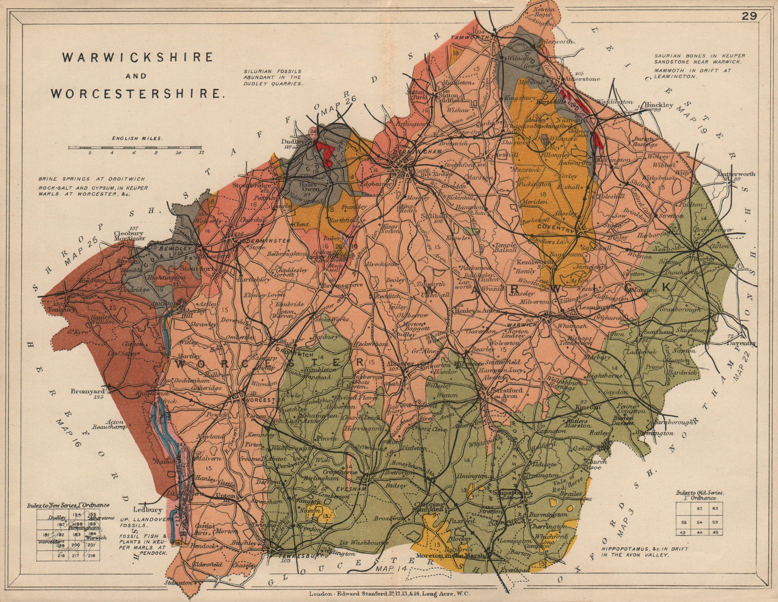 Associate Product WARWICKSHIRE AND WORCESTERSHIRE Geological map. STANFORD 1913 old antique