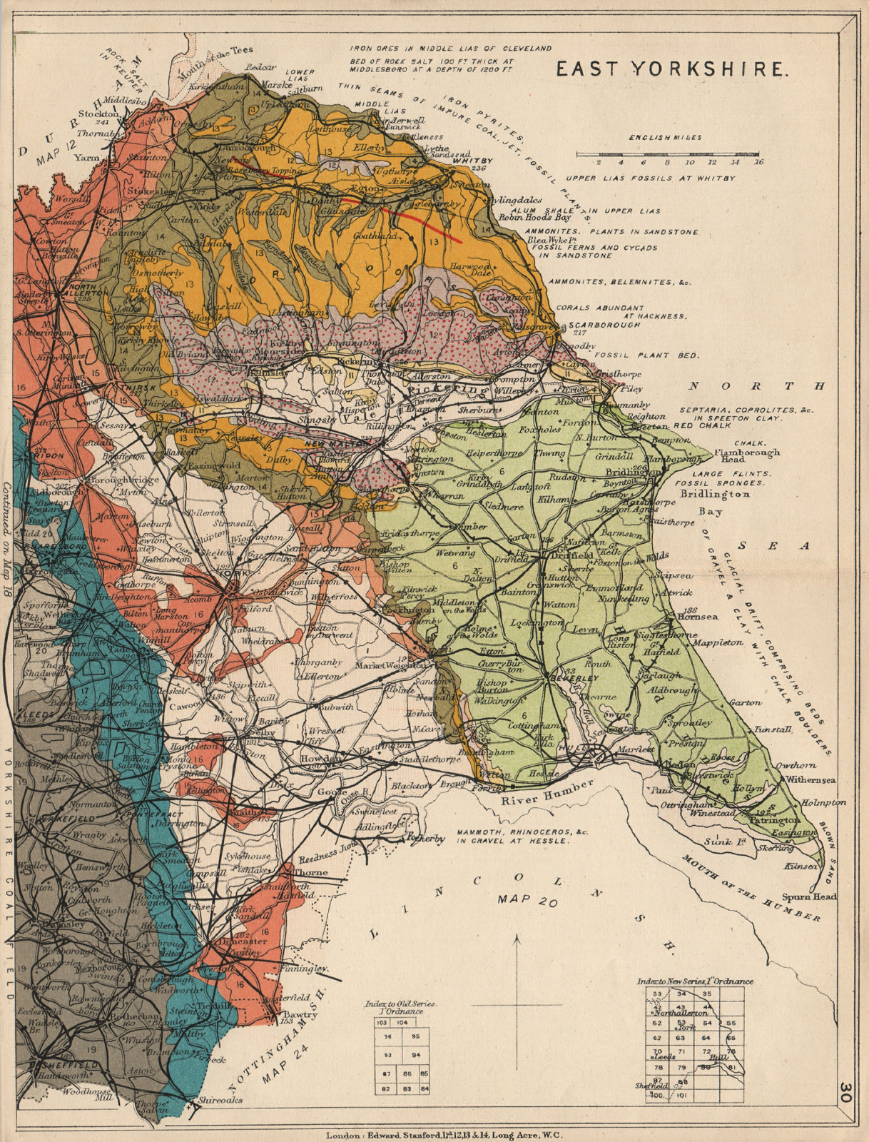 Associate Product EAST YORKSHIRE Geological map. STANFORD 1913 old antique plan chart