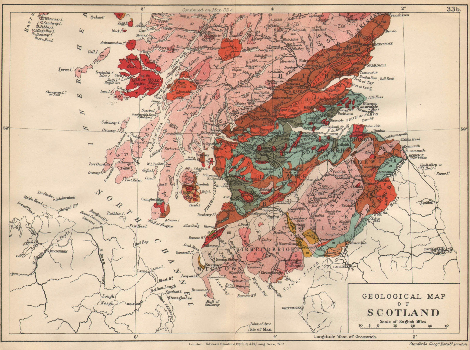 Associate Product SOUTHERN SCOTLAND Geological map. STANFORD 1913 old antique plan chart