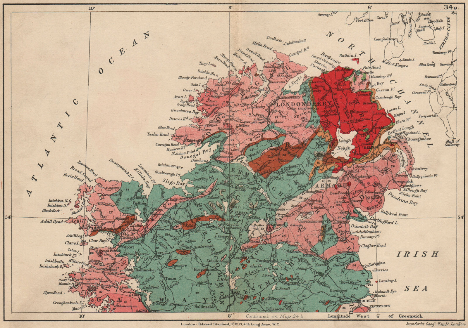 Associate Product NORTHERN IRELAND Geological map. STANFORD 1913 old antique plan chart