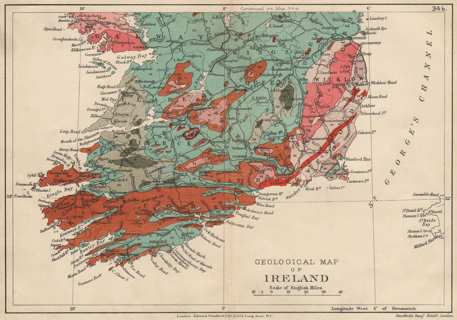 Associate Product SOUTHERN IRELAND Geological map. STANFORD 1913 old antique plan chart