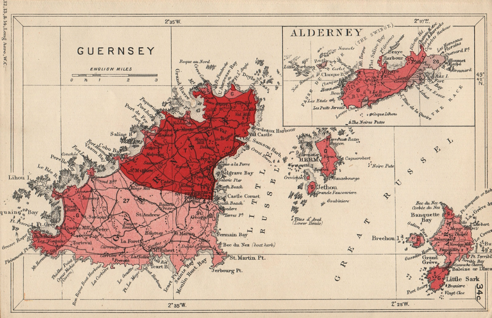 Associate Product GUERNSEY, ALDERNEY & SARK Geological map. Channel Islands. STANFORD 1913