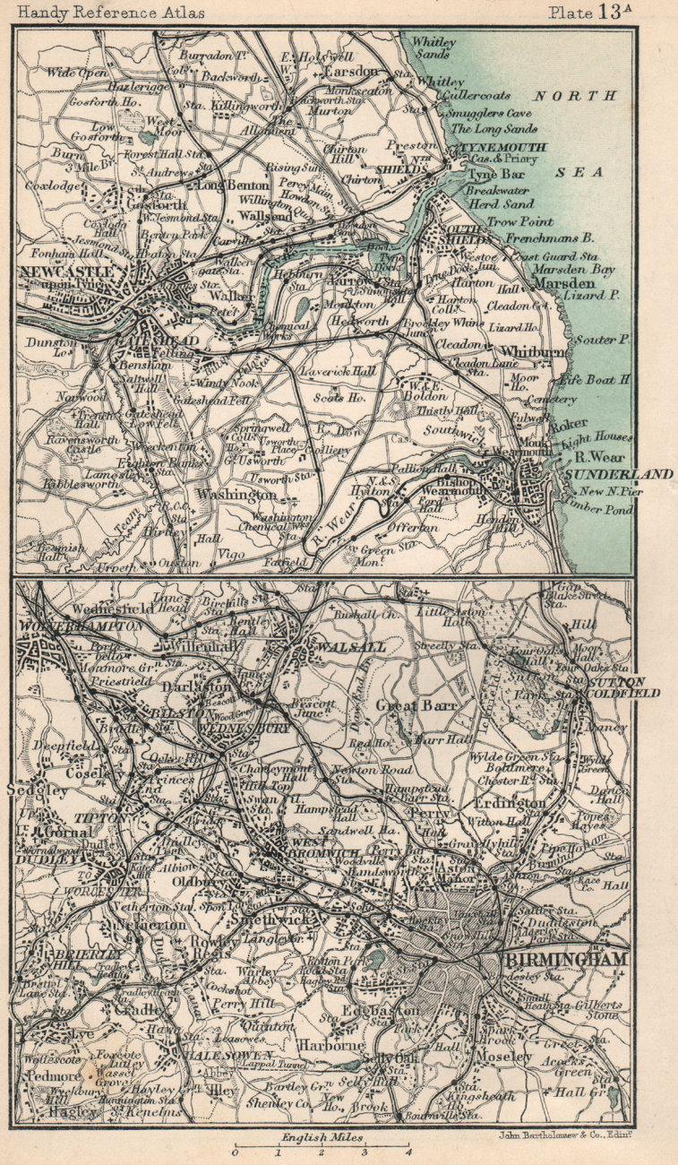 Environs of Birmingham & Newcastle. Warwickshire. BARTHOLOMEW 1904 old map