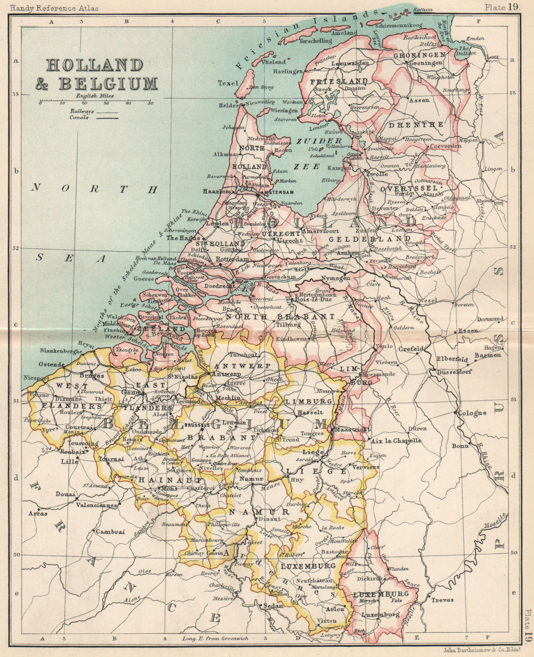 Holland and Belgium. Luxembourg. Benelux. BARTHOLOMEW 1904 old antique map