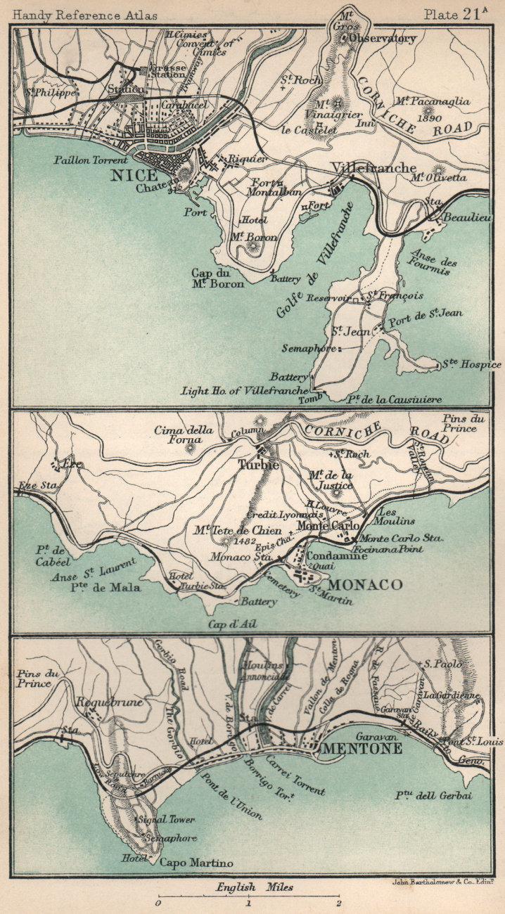 Associate Product Environs of Nice, Monaco & Menton. Alpes-Maritimes. BARTHOLOMEW 1904 old map