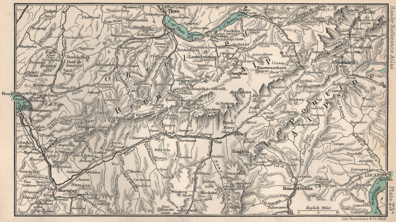 Associate Product Bernese Alps. Lepontine Alps. Sion Thun Locarno. Switzerland 1904 old map