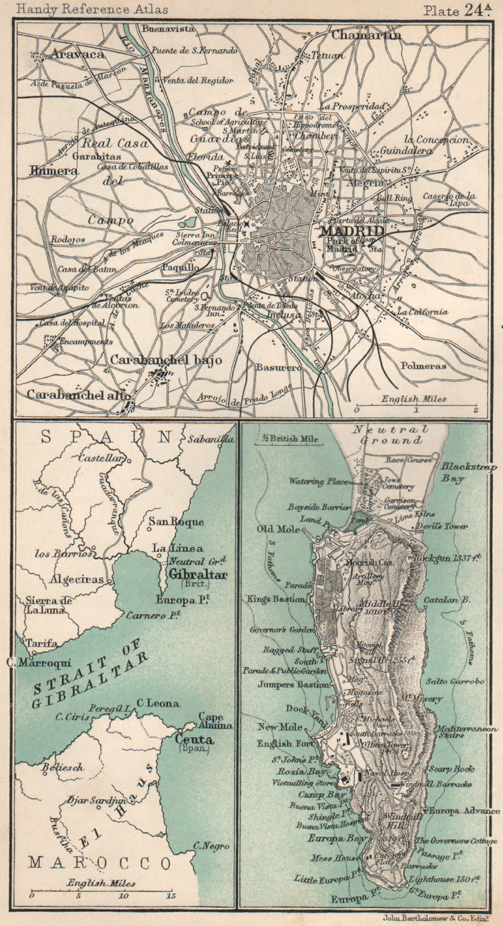 Associate Product Environs of Madrid & Gibraltar. Spain. BARTHOLOMEW 1904 old antique map chart