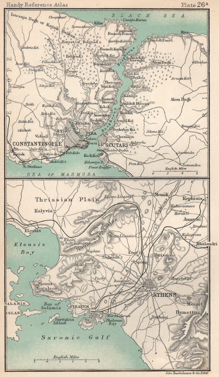 Associate Product Constantinople & the Bosphorus. Environs of Athens. Turkey & Greece 1904 map