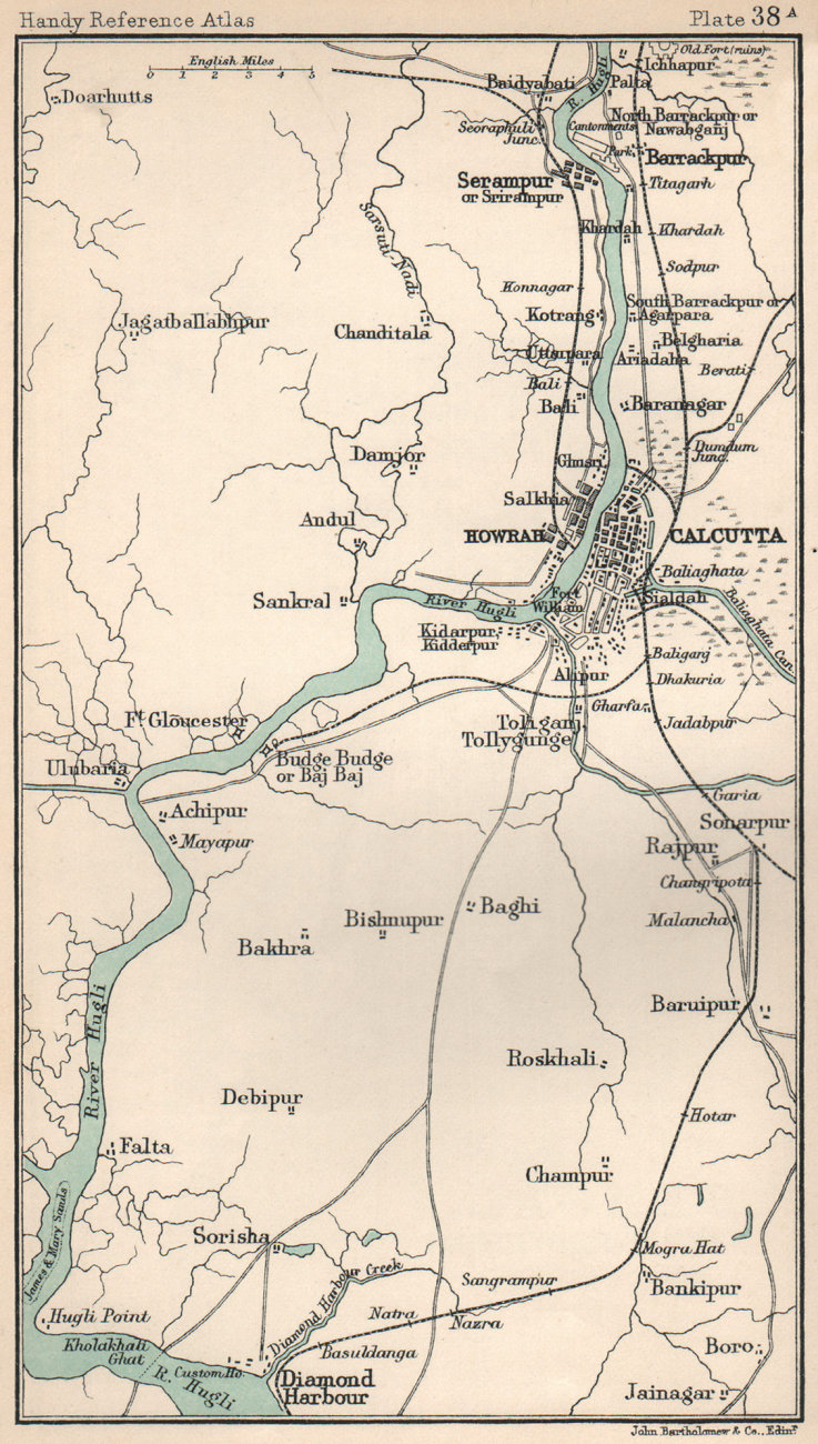 Associate Product Hawrah & Calcutta environs. British India. BARTHOLOMEW 1904 old antique map