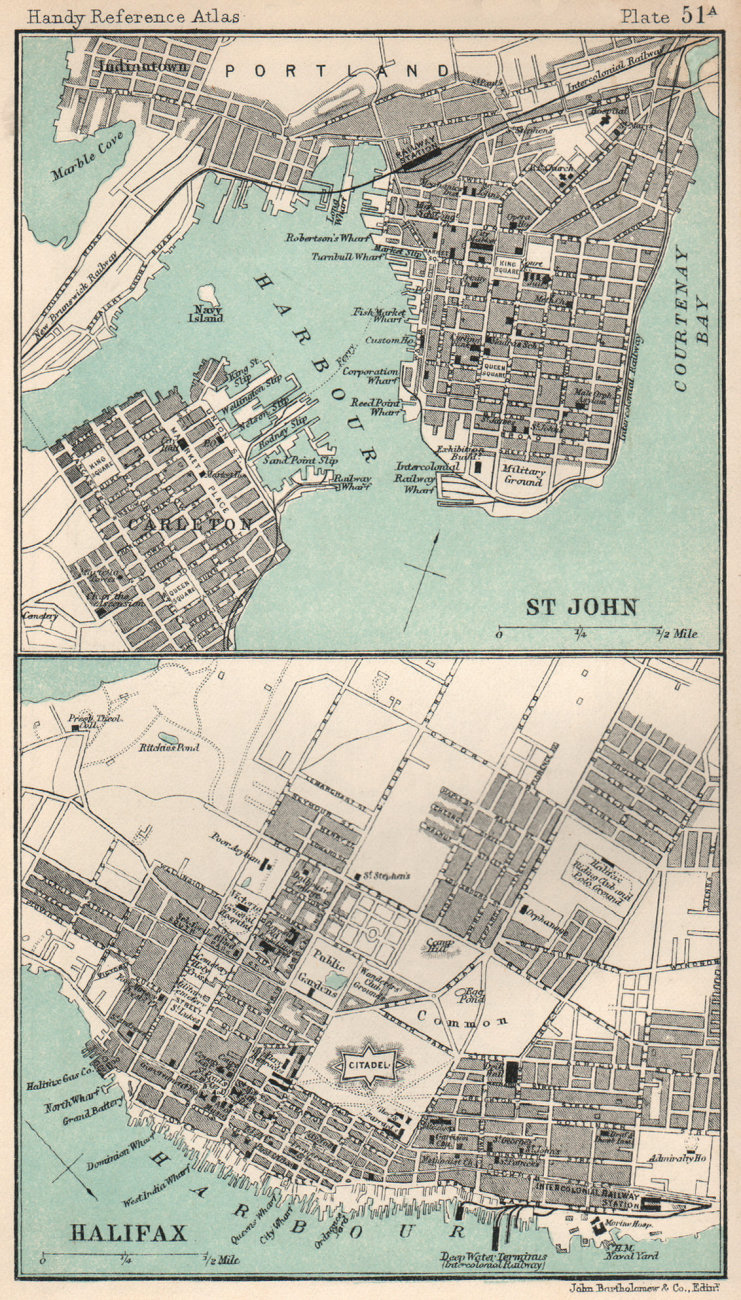 Associate Product Halifax & St. John town/city plans. Canada. BARTHOLOMEW 1904 old antique map