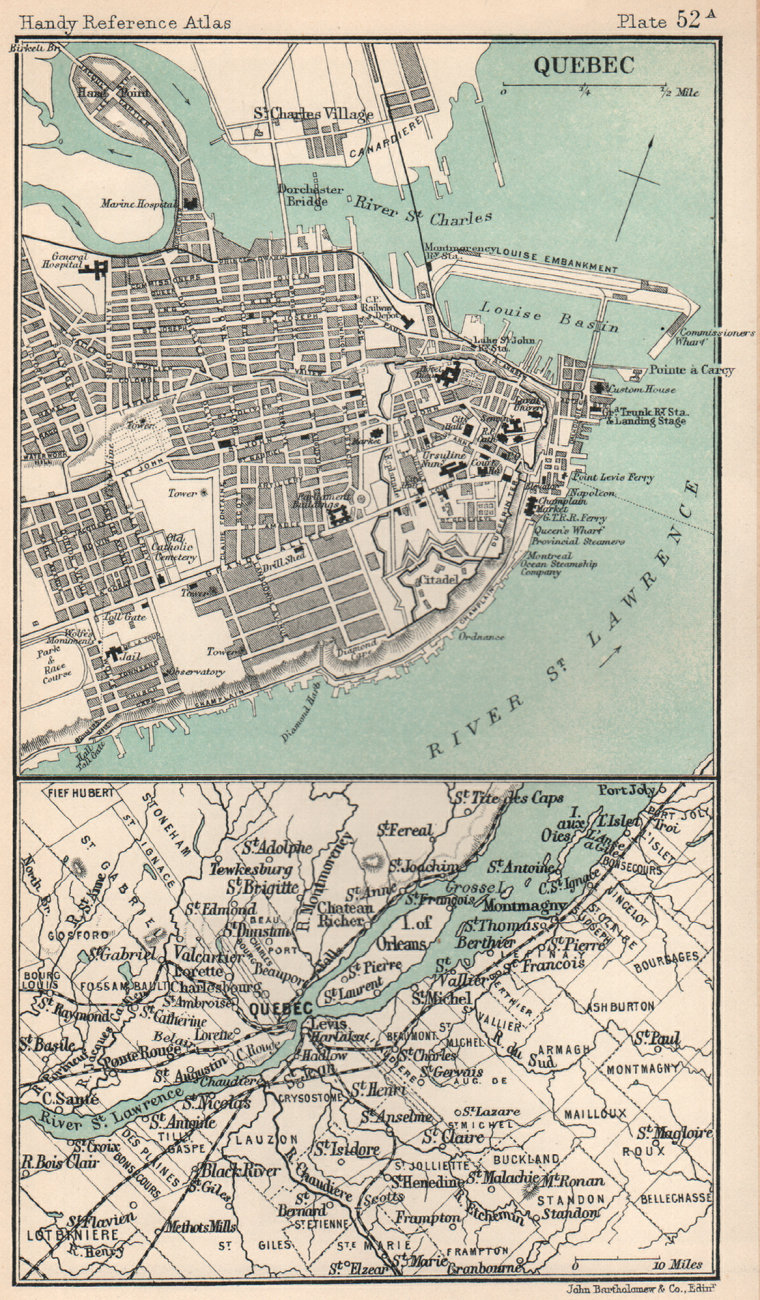 Associate Product Quebec City plan and environs. Canada. BARTHOLOMEW 1904 old antique map chart