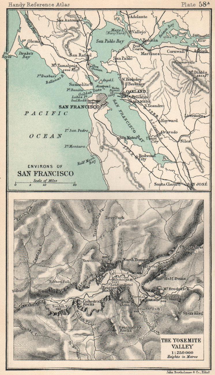 Associate Product Environs of San Francisco. Yosemite Valley. California. BARTHOLOMEW 1904 map