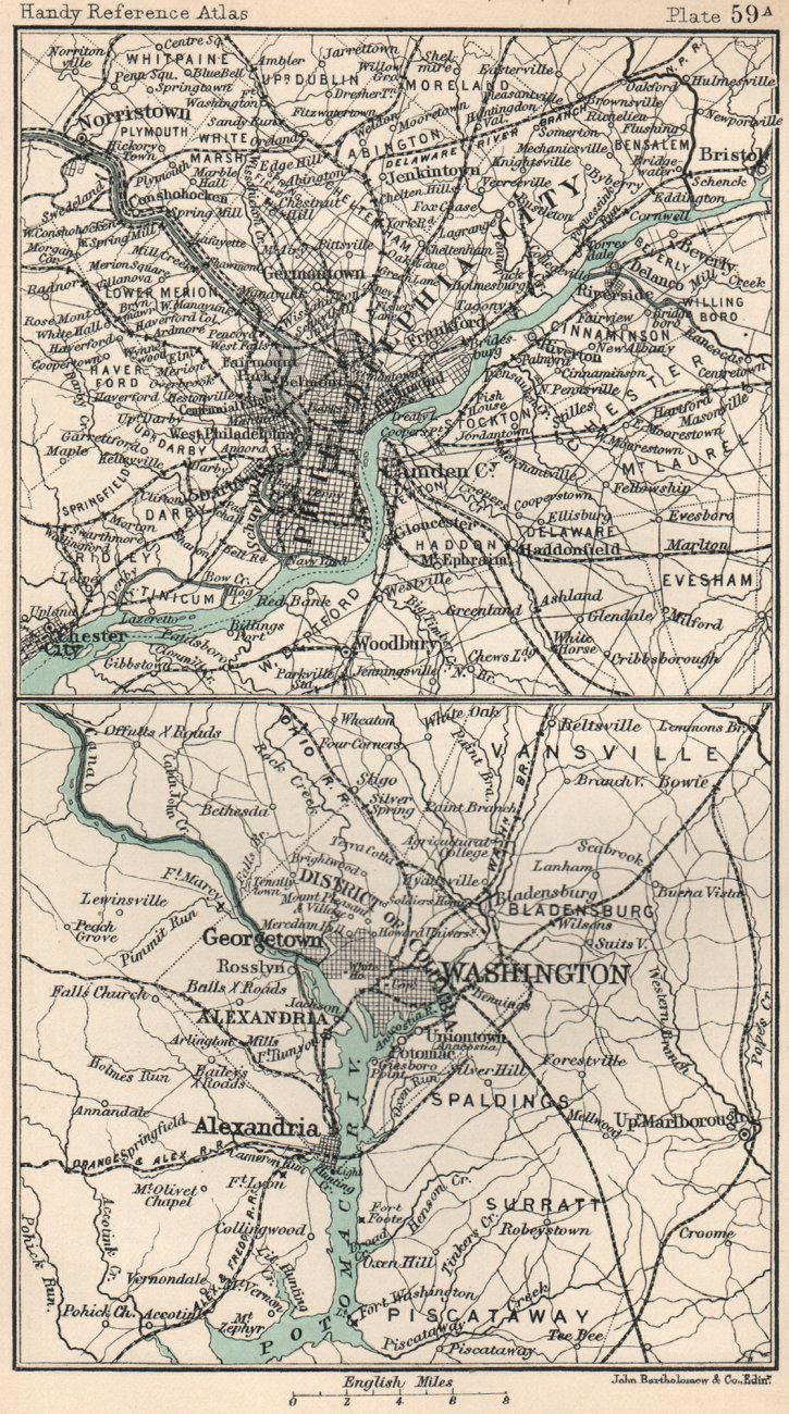 Environs of Washington DC & Philadelphia. BARTHOLOMEW 1904 old antique map