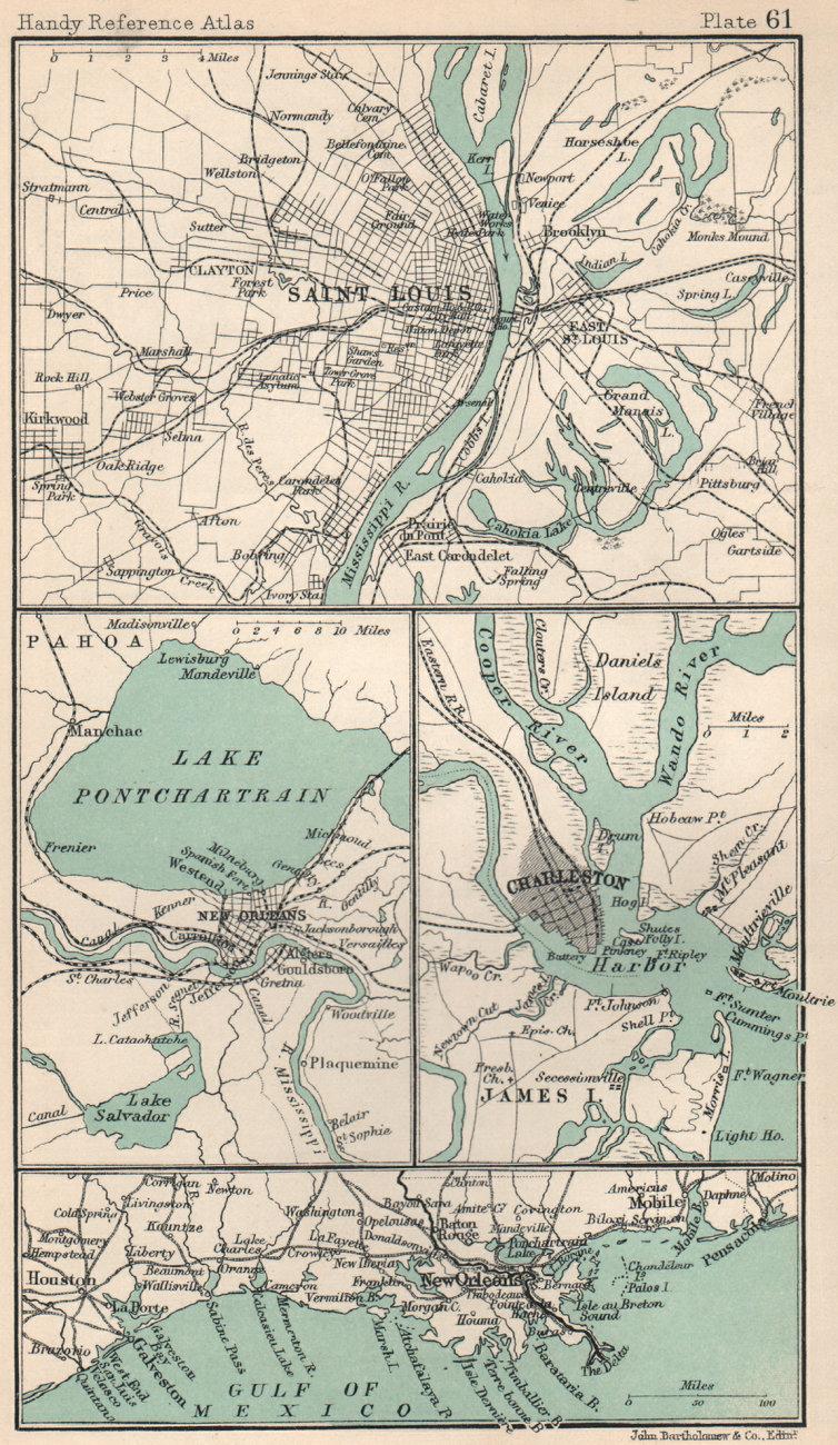 Environs of Saint Louis, Charleston & New Orleans. South Carolina 1904 old map