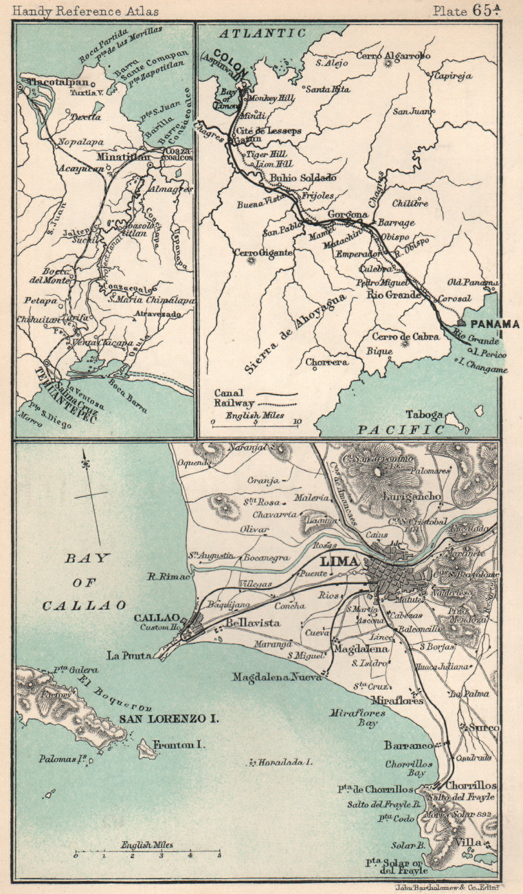 Associate Product Environs of Lima & Callao. Panama Canal. South America. BARTHOLOMEW 1904 map