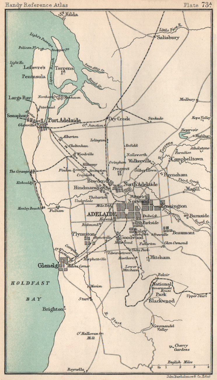 Associate Product Environs of Adelaide. South Australia. BARTHOLOMEW 1904 old antique map chart