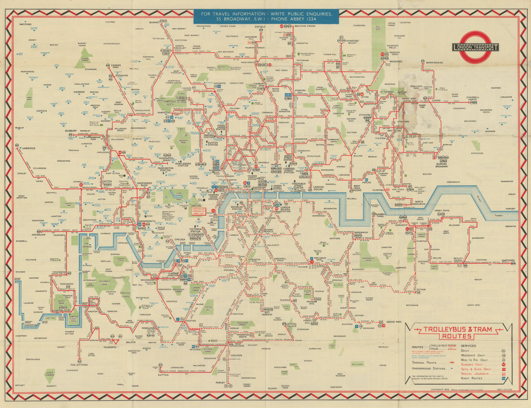 London Transport Trolleybus & Tram map of Routes. ELSTON. #1 1946 old