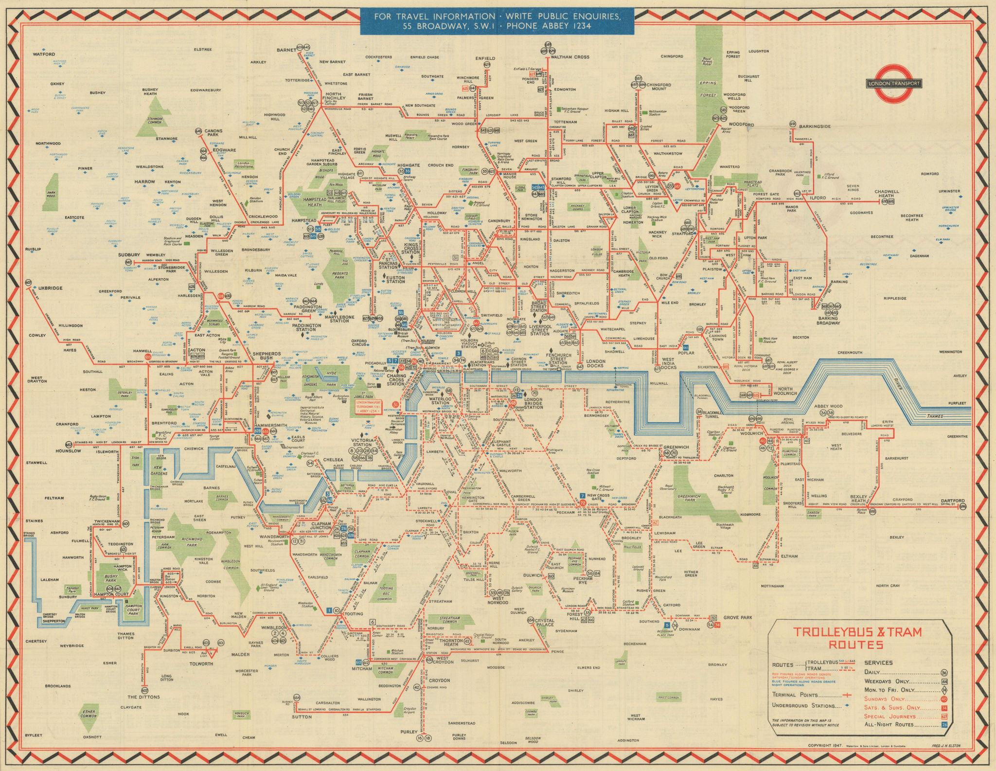 London Transport Trolleybus & Tram route map. ELSTON. May 1949 old vintage