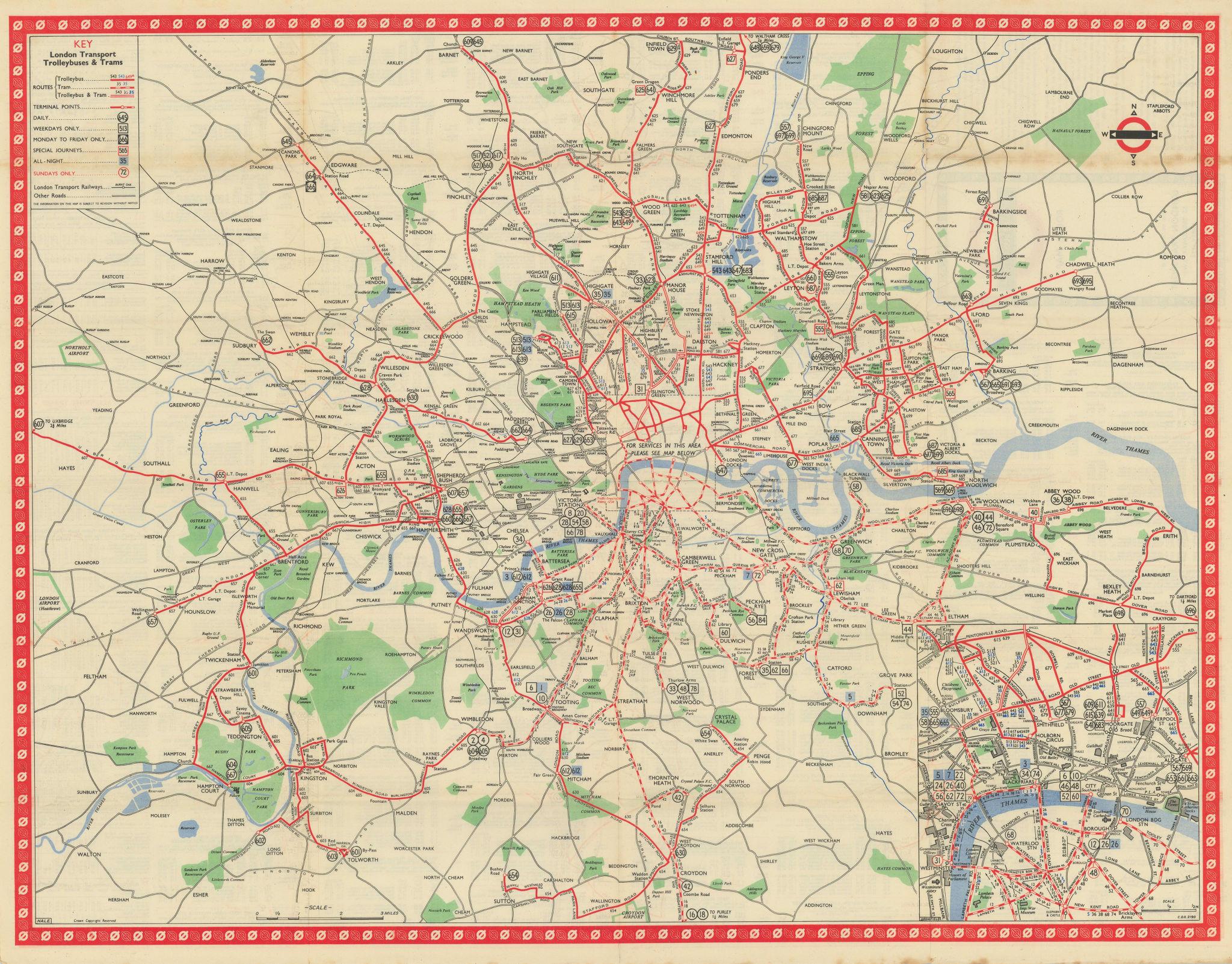 London Transport Trolleybus & Tram route map. 650. HALE January 1950 old