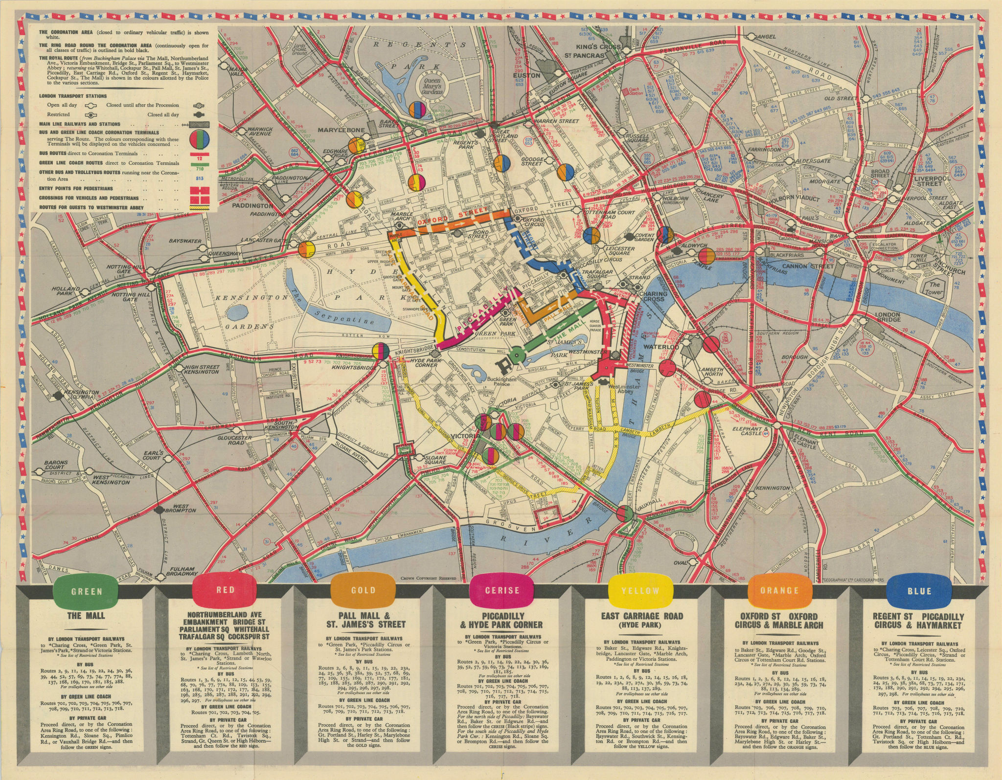 Elizabeth R Coronation. London Transport. British Railways. 2 June 1953 map