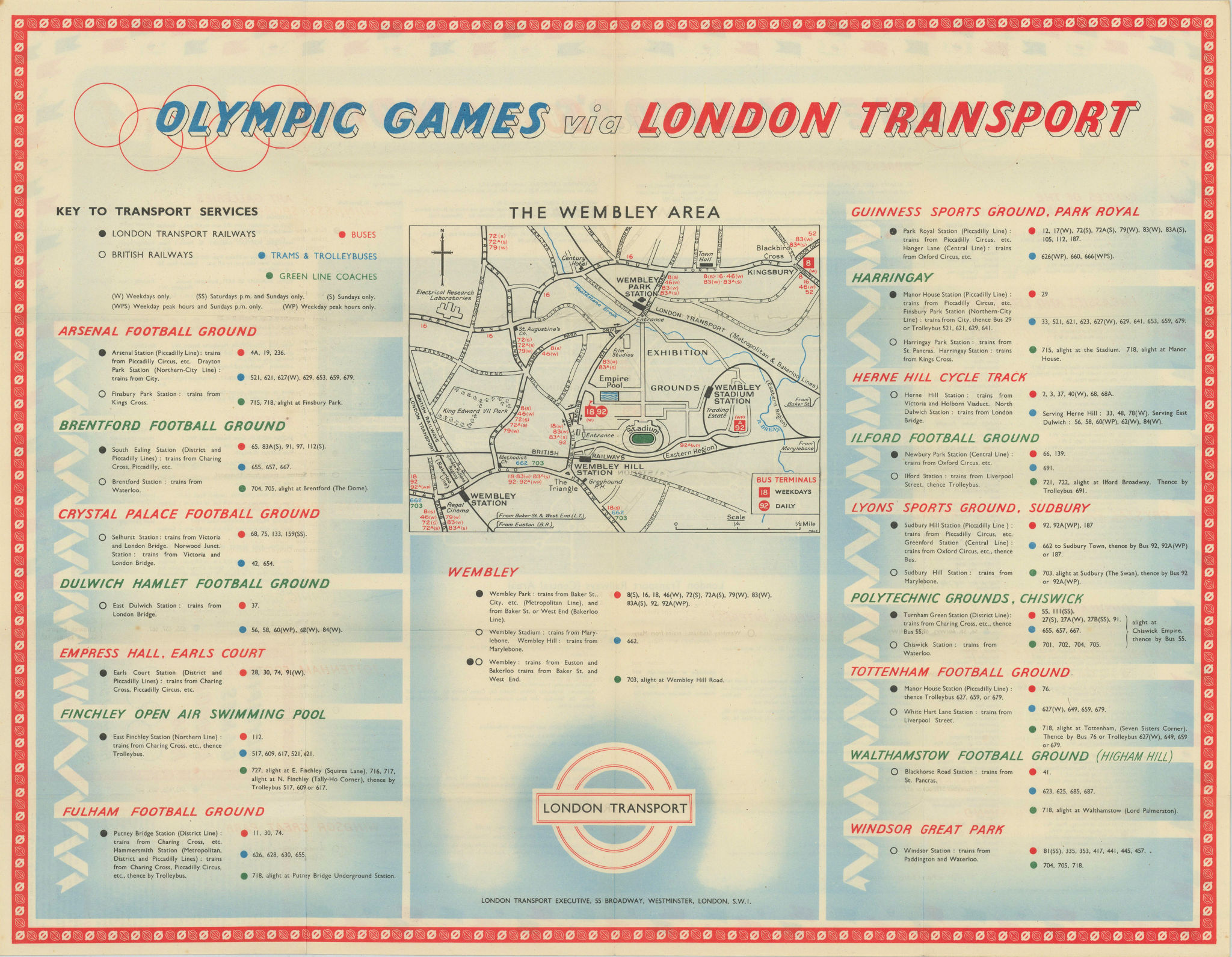 Olympic Games London - how to get there by London Transport. HALE 1948 old map