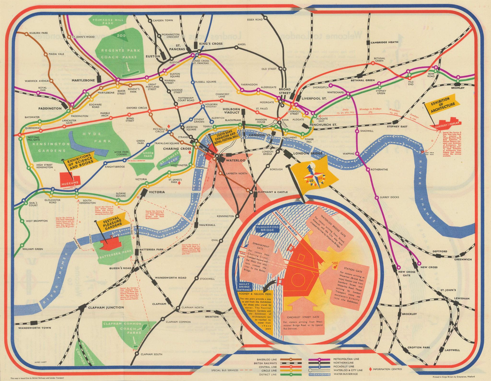Festival of Britain 1951. London Transport. British Railways. HART 1951 map