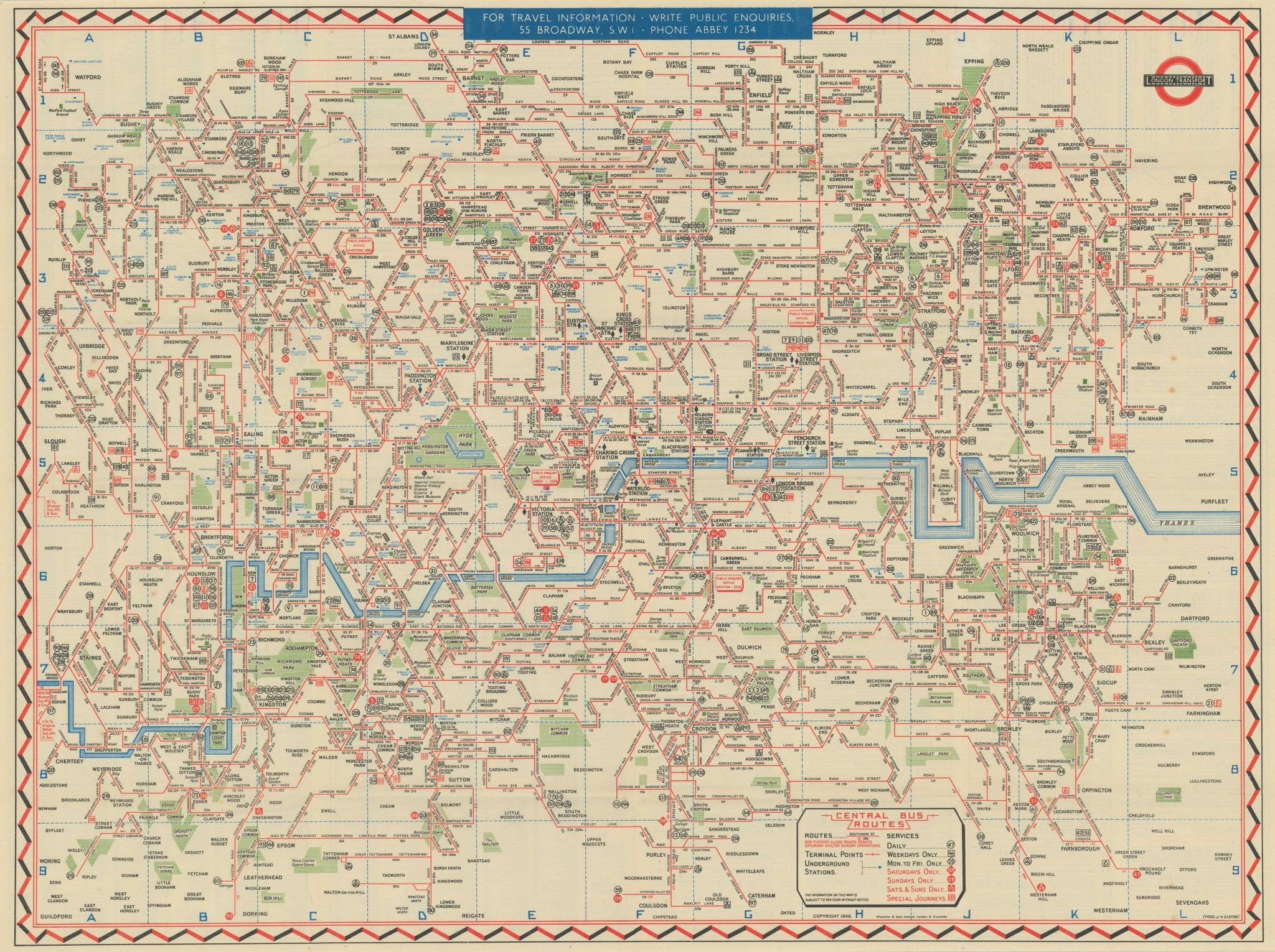 London Transport Bus map Central Area. ELSTON. #1 1946 old vintage chart
