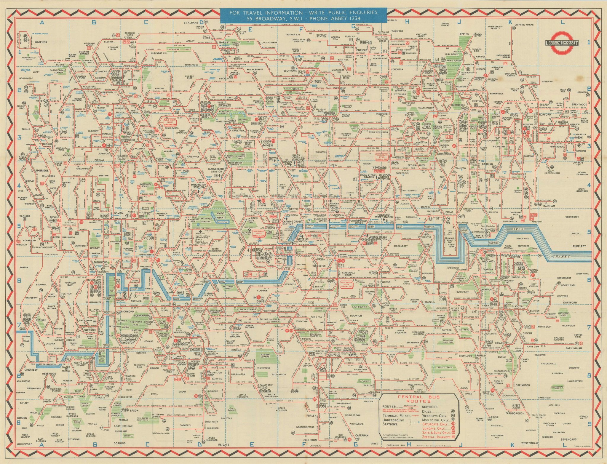 London Transport Bus map Central Area. ELSTON. #2 1946 old vintage chart