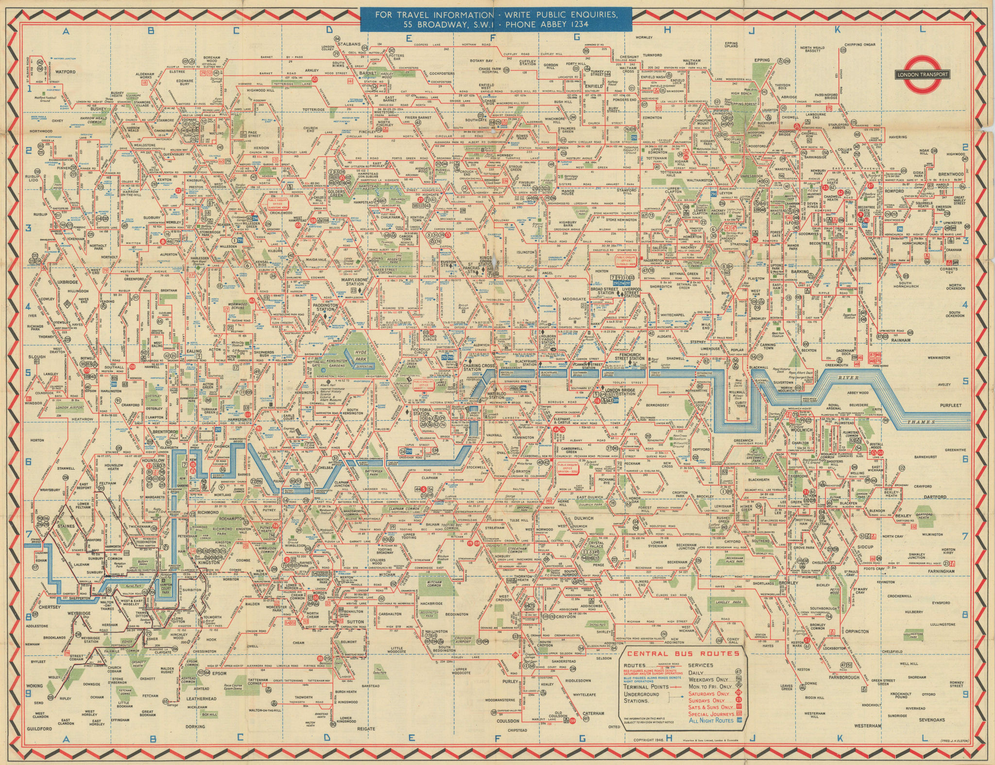 London Transport Bus map Central Area. ELSTON. #2 1947 old vintage chart