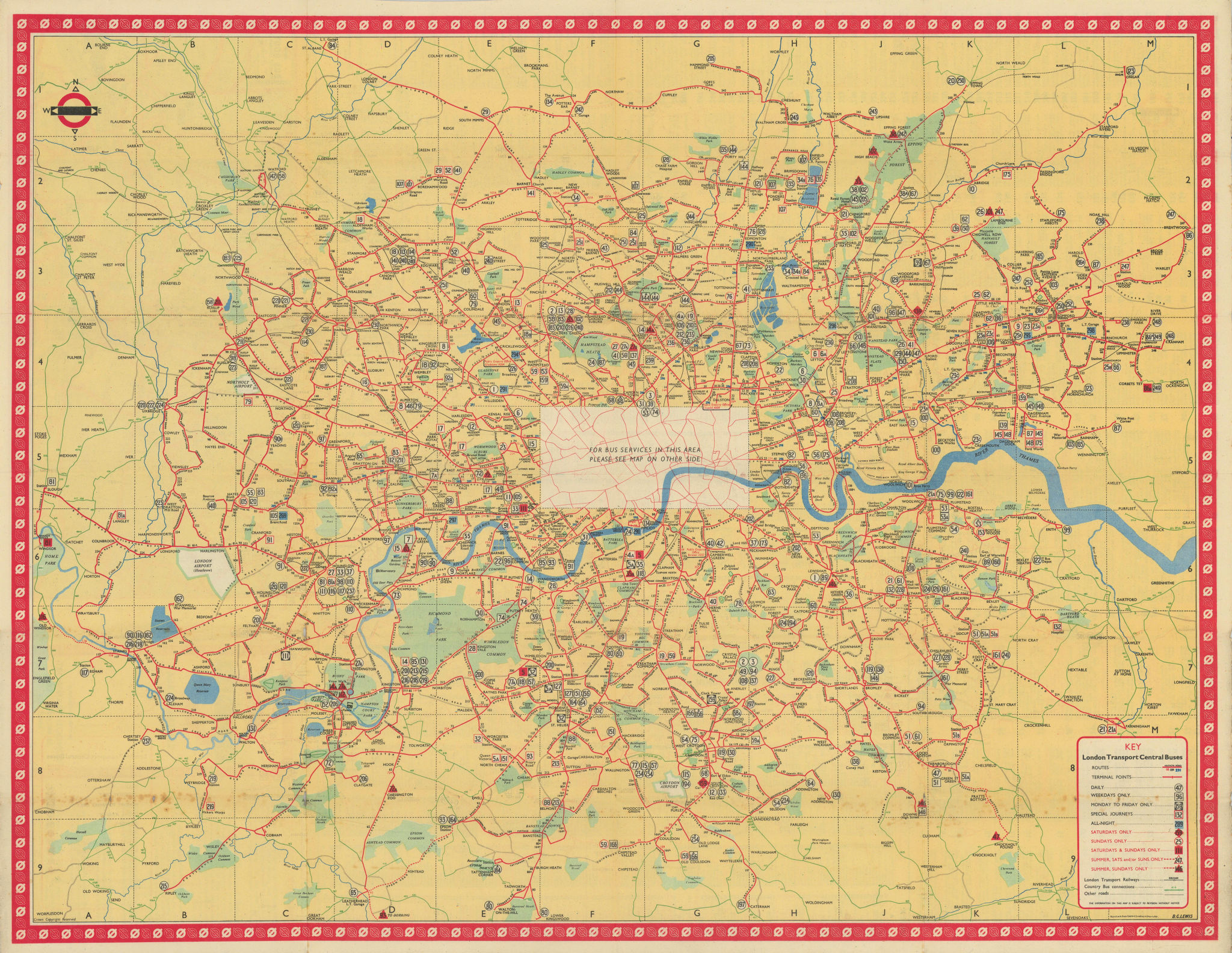 London Transport Bus map Central Area. LEWIS January 1950 old vintage