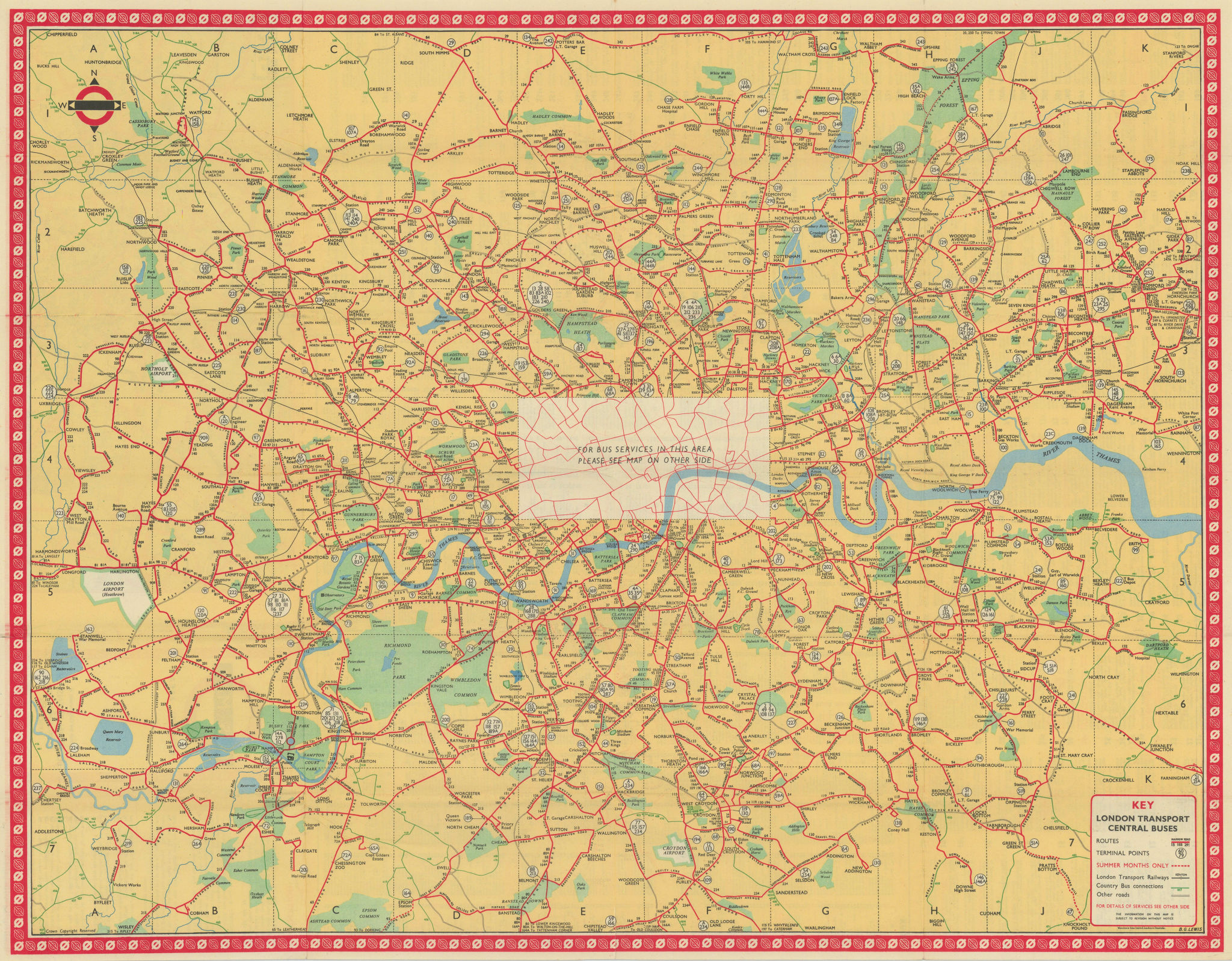 London Transport Bus map Central Area. LEWIS January 1951 old vintage