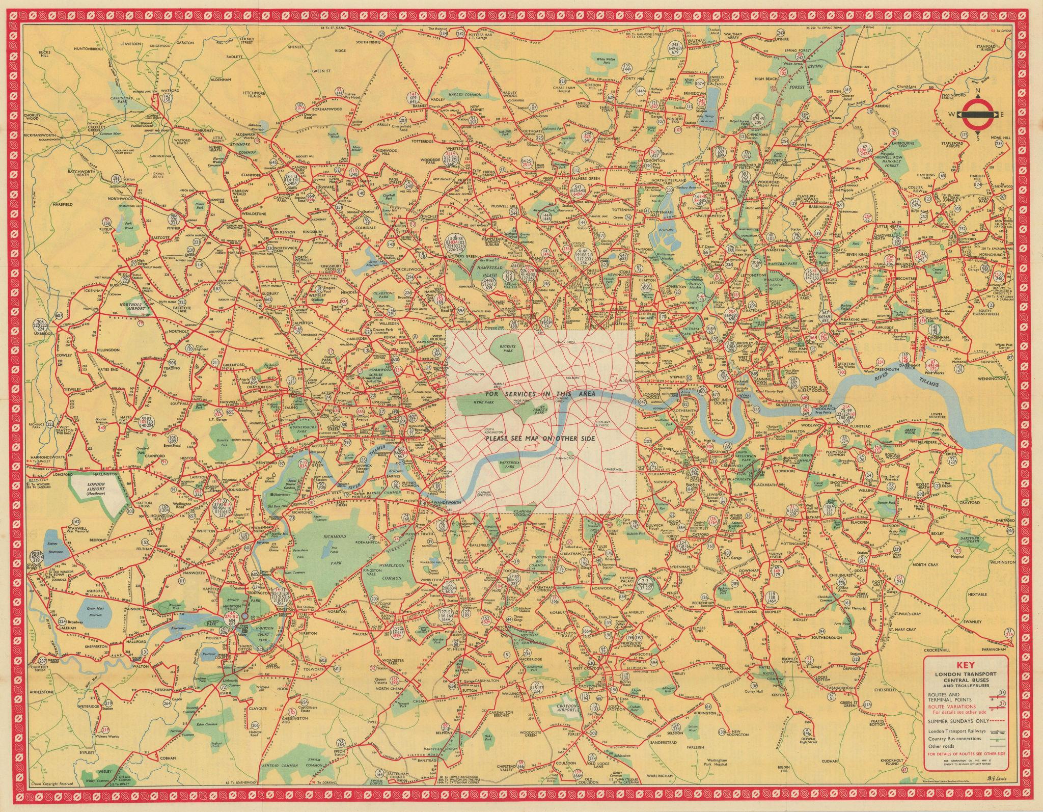 London Transport Bus map Central Area & Trolleybuses. LEWIS April 1952 old