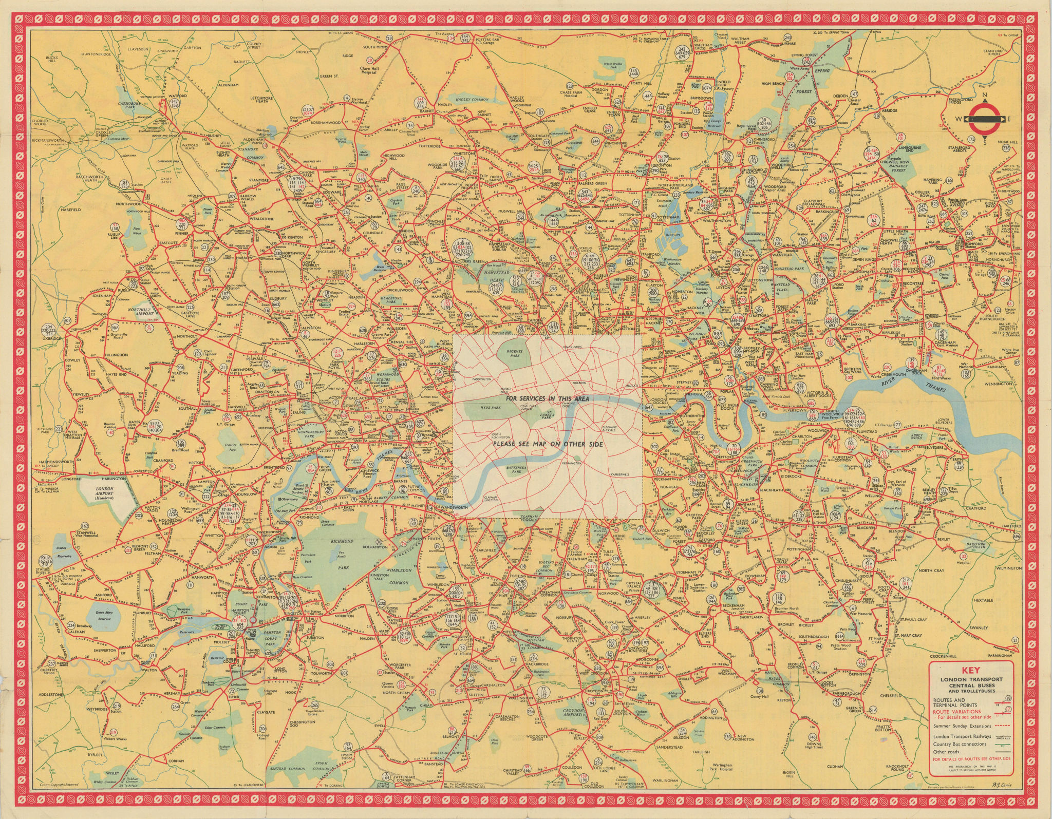 London Transport Bus map Central Area inc. Trolleybuses. LEWIS 1953 old