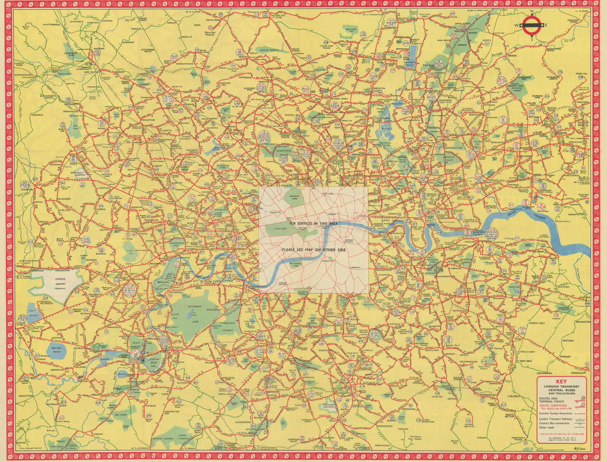 London Transport Bus map Central Area inc. Trolleybuses 1053 LEWIS 1954