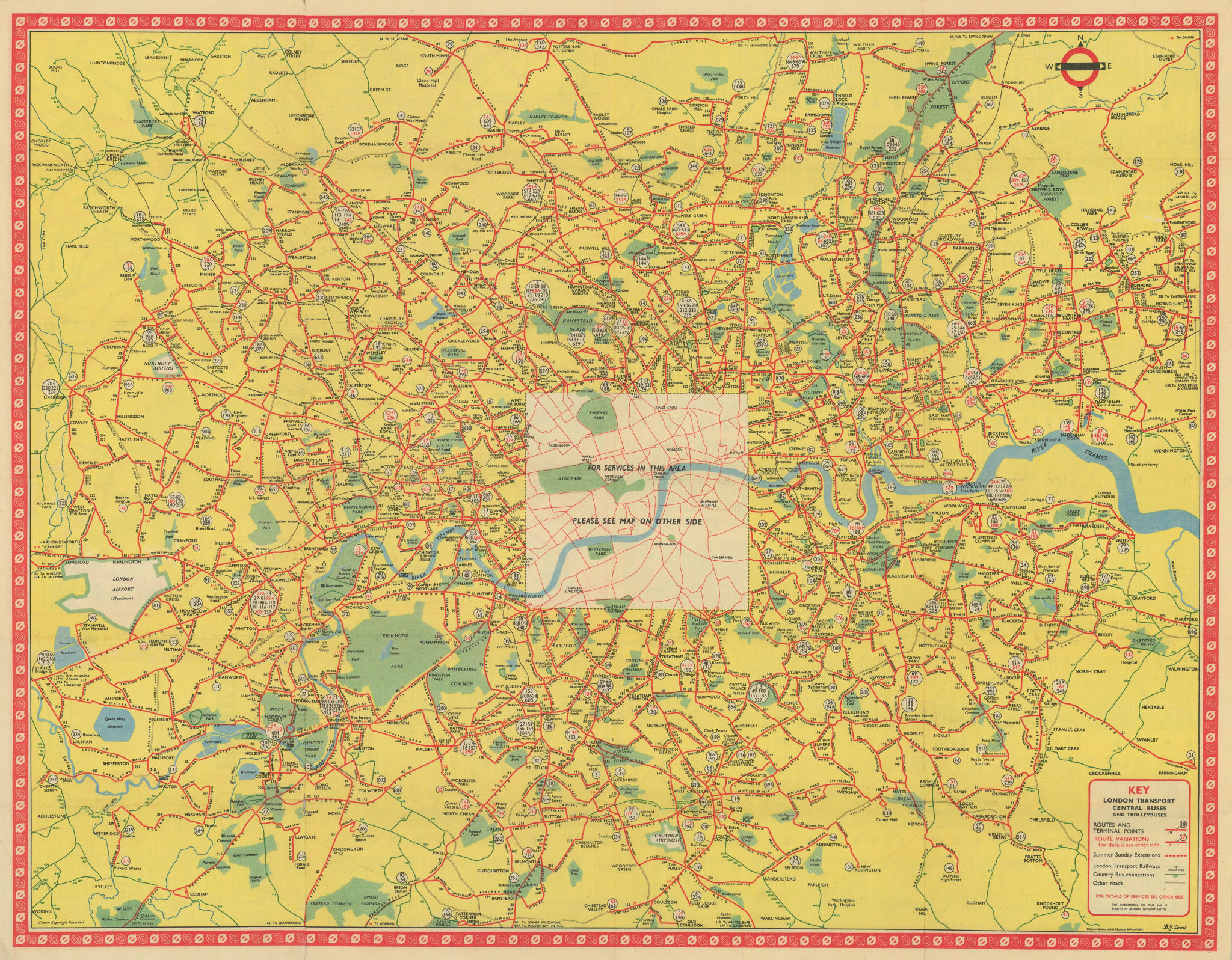 London Transport Bus map Central Area inc. Trolleybuses 754. LEWIS 1954