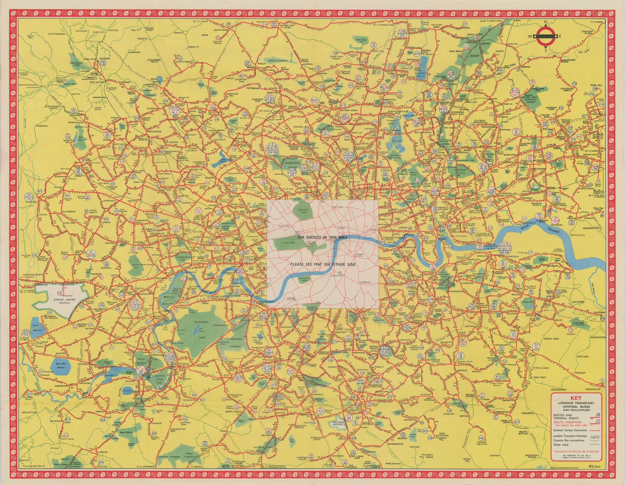 London Transport Bus map Central Area inc. Trolleybuses. LEWIS 1955 old