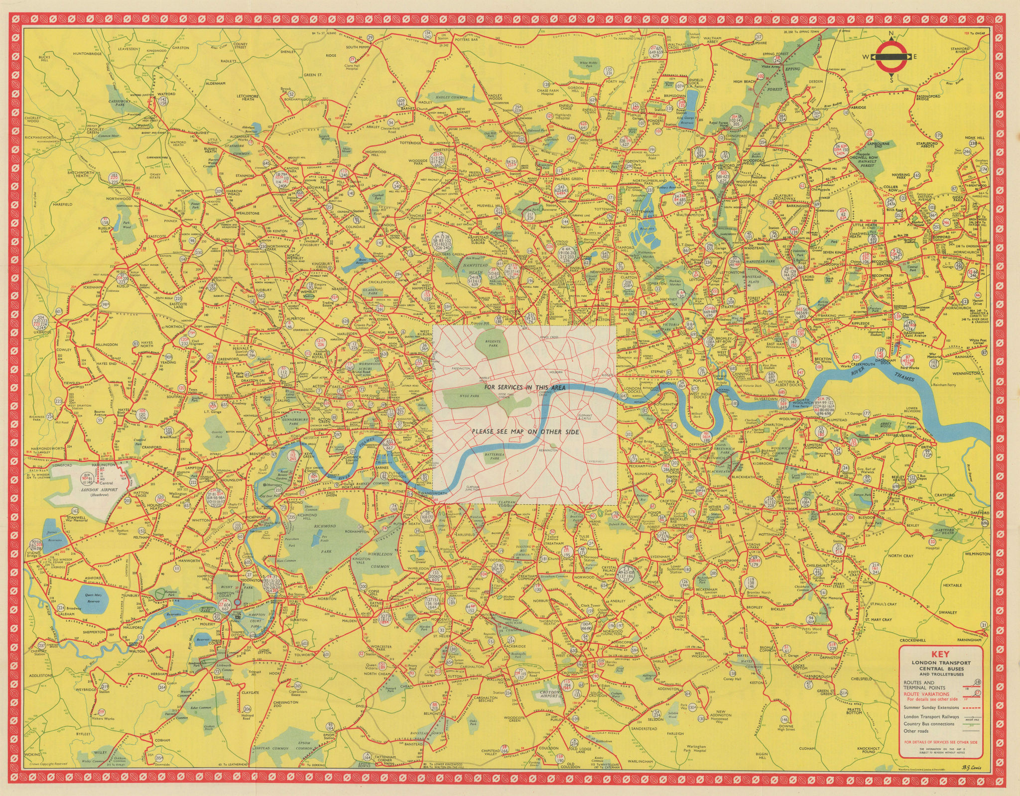 London Transport Bus map Central Area inc. Trolleybuses. LEWIS 1956 old