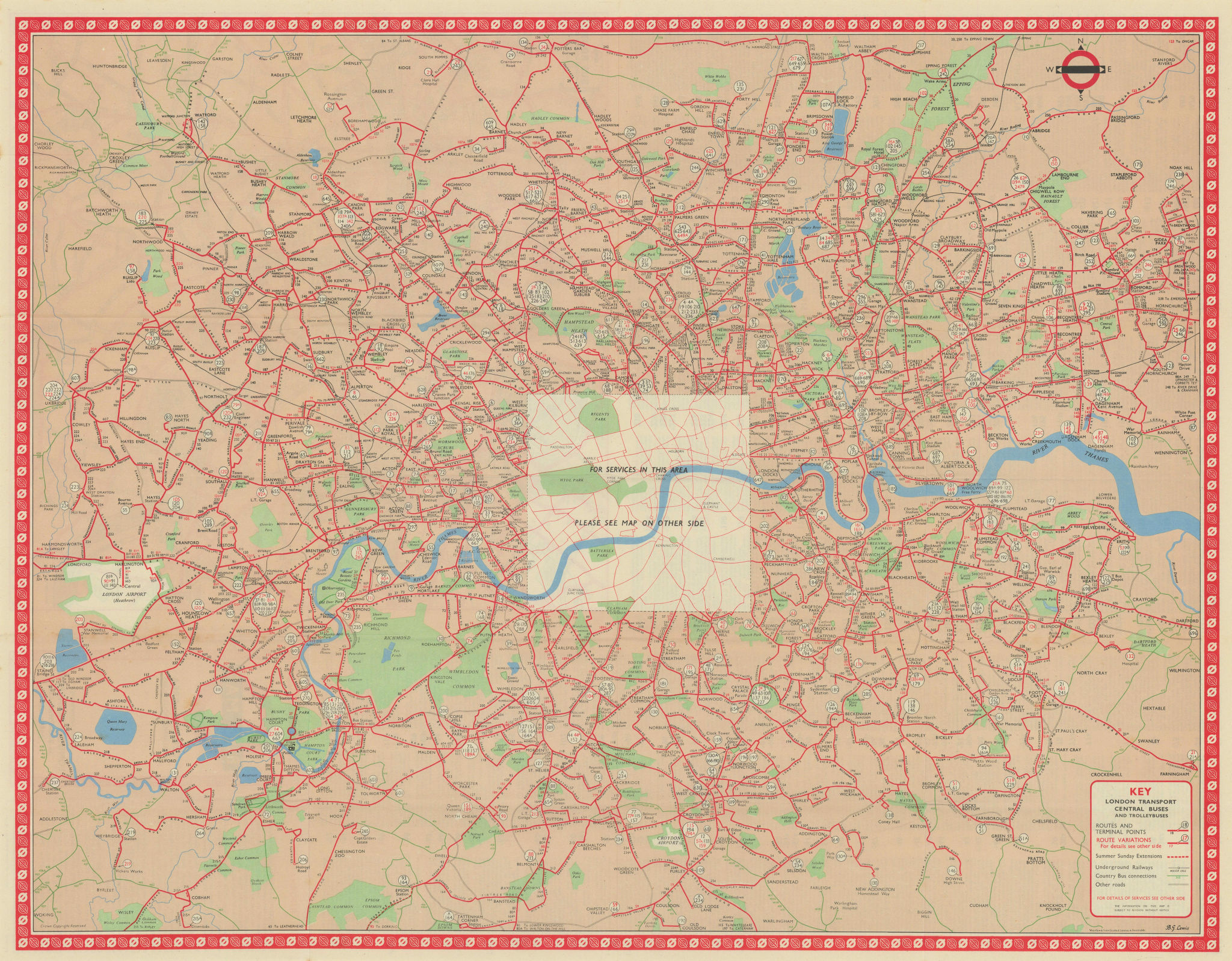 London Transport Bus map Central Area inc. Trolleybuses 1056 LEWIS 1957