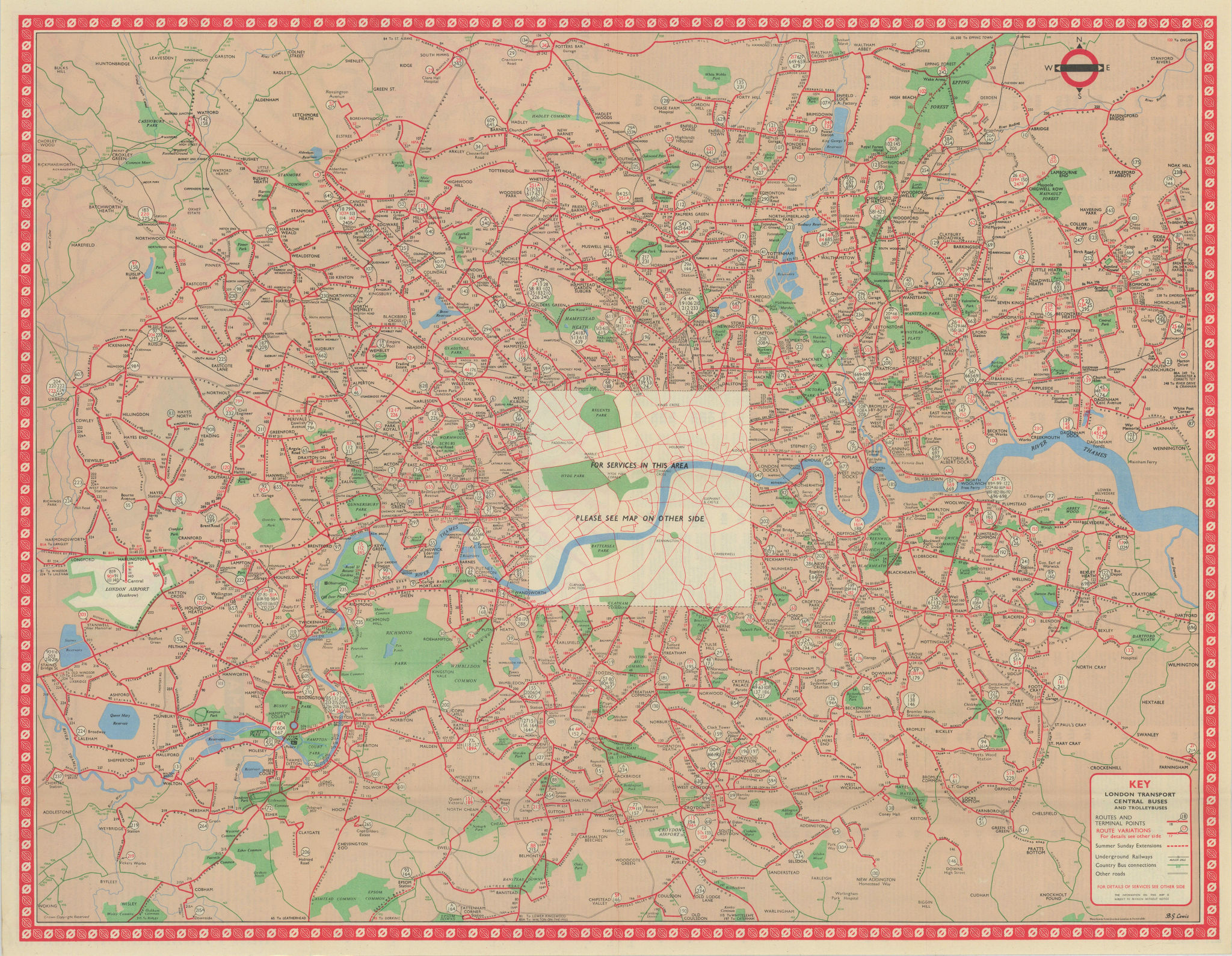 London Transport Bus map Central Area inc. Trolleybuses 557. LEWIS 1957