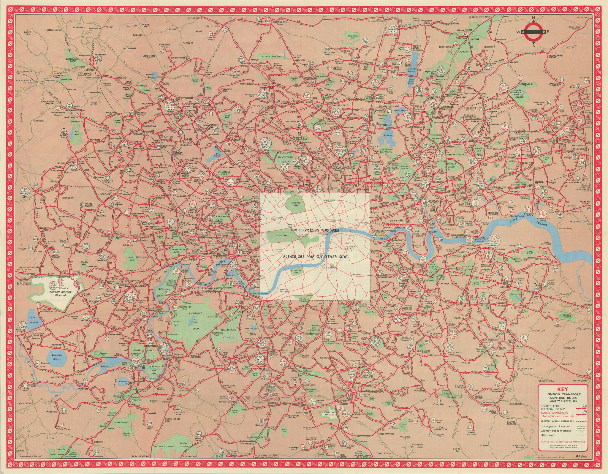 London Transport Bus map Central Area inc. Trolleybuses. LEWIS 1958 old