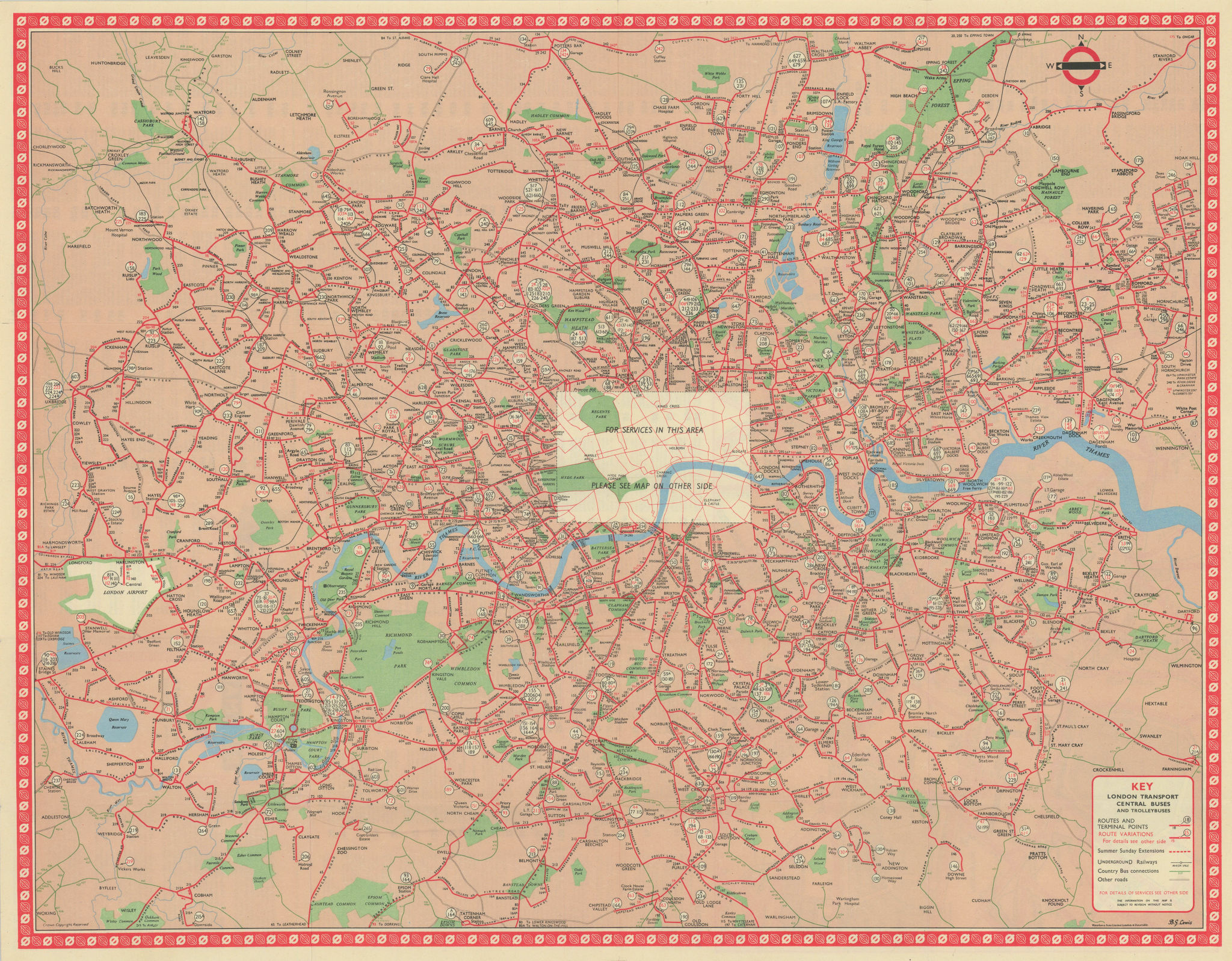 London Transport Bus map Central Area inc. Trolleybuses. LEWIS #2 1959 old