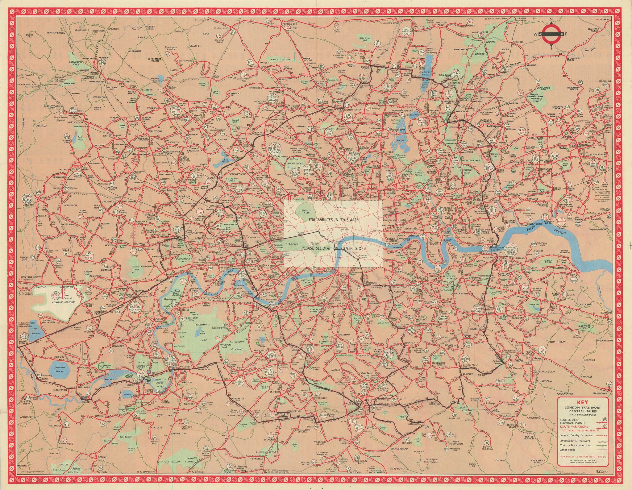 London Transport Bus map Central Area inc. Trolleybuses. LEWIS #3 1959 old