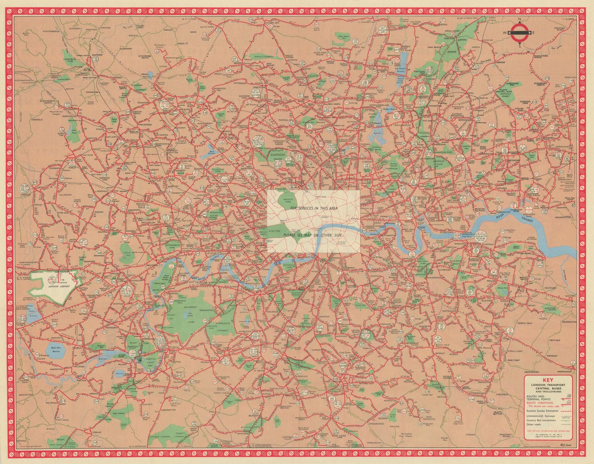 London Transport Bus map Central Area inc. Trolleybuses. LEWIS #1 1960 old