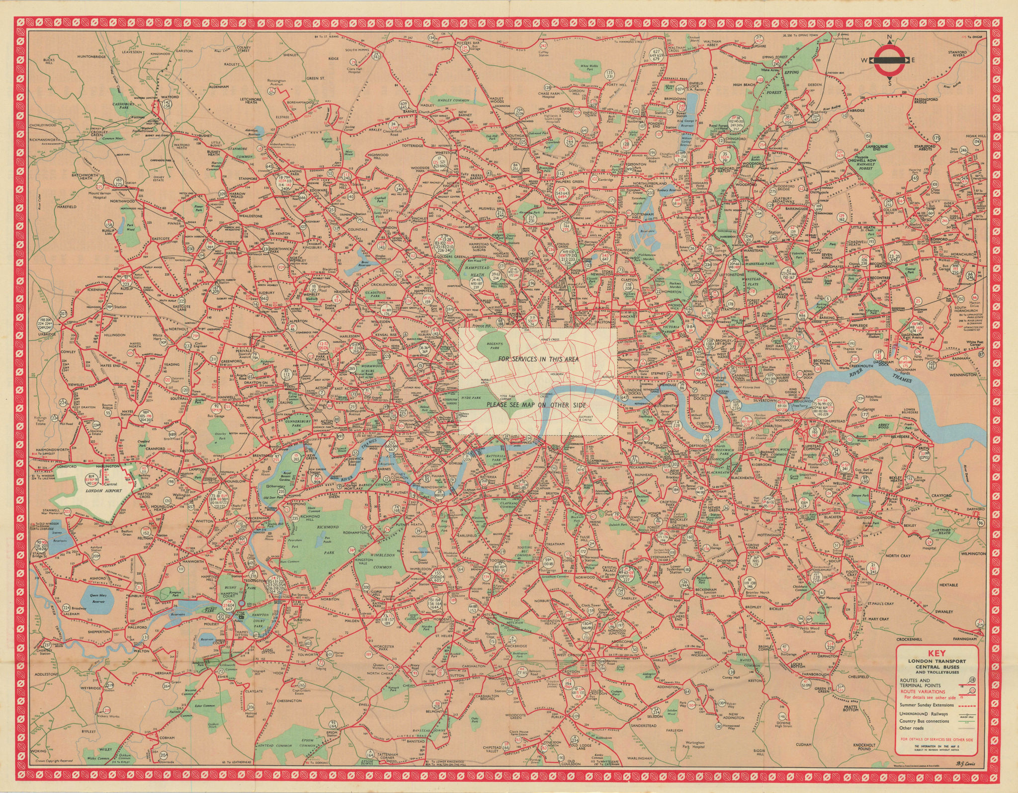 London Transport Bus map Central Area inc. Trolleybuses. LEWIS #1 1961 old