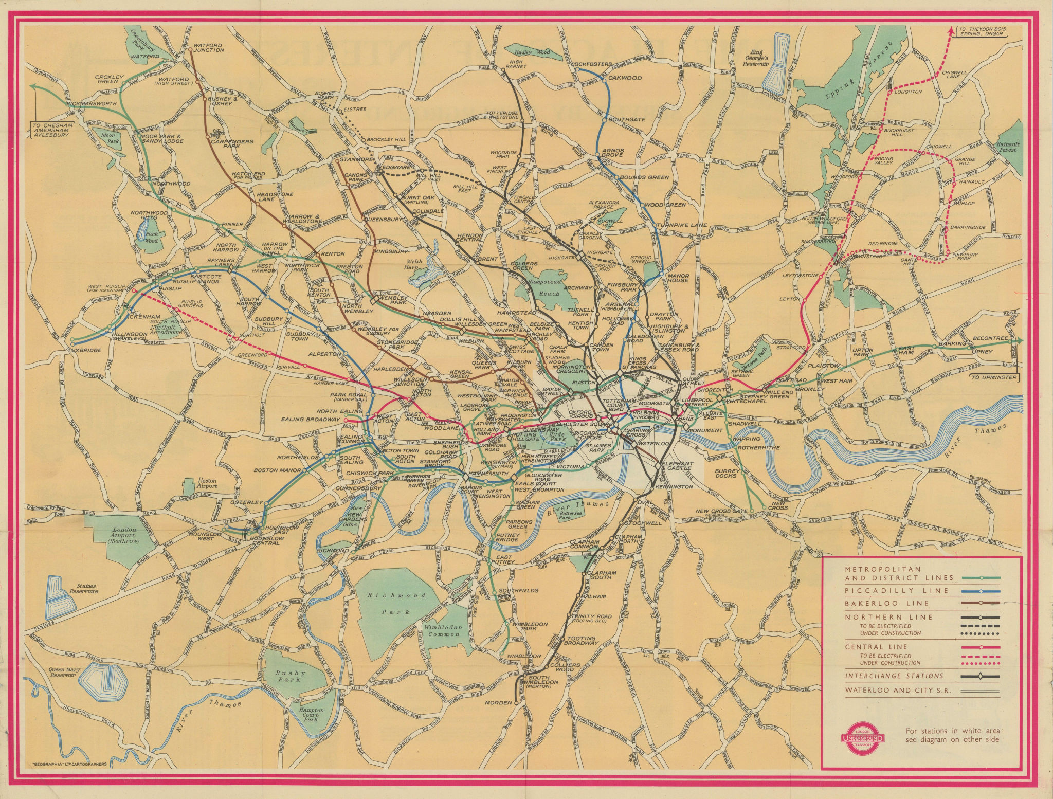 London Transport Underground map and some places of interest. #1 1947 old