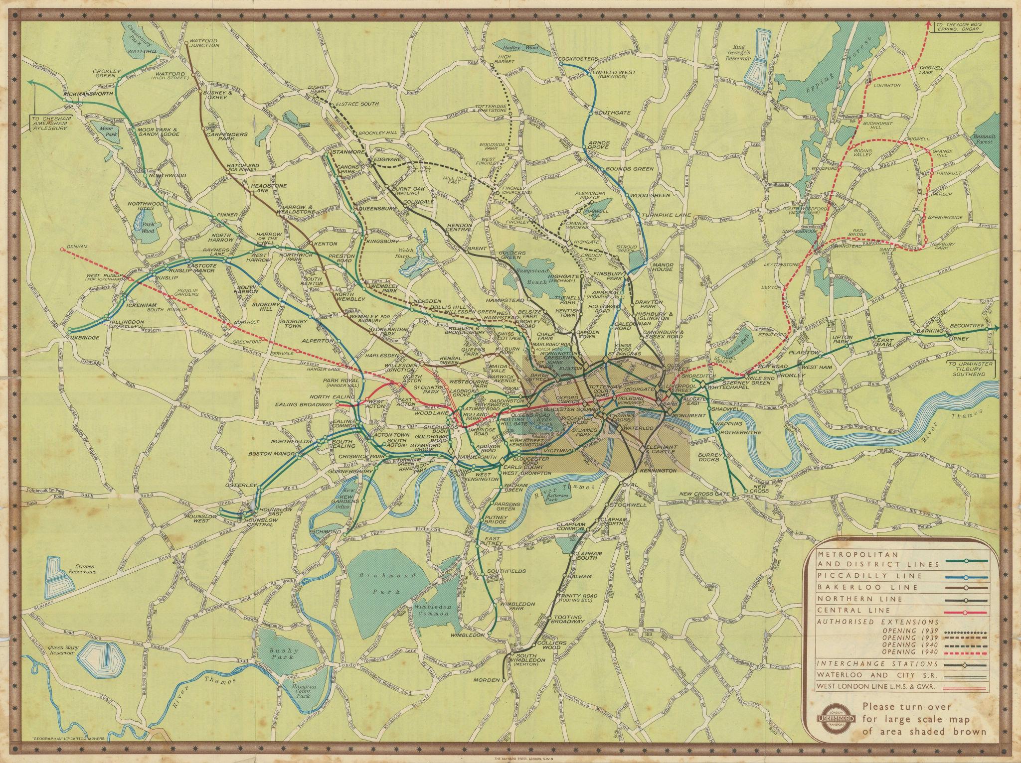 London Transport Underground Railway map #2 1938 old vintage plan chart